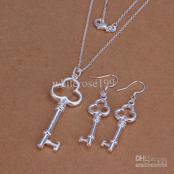 Großhandel - niedrigsten Preis Weihnachtsgeschenk 925 Sterling Silber Fashion Halskette + Ohrringe Set QS134