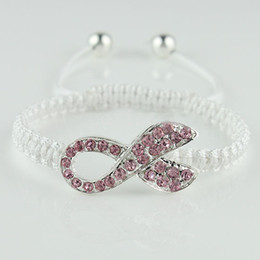 Wholesale Breast Cancer Rhinestone Connectors - 10pcs Free shipping Fashion jewelry Crystal Rhinestones Pink Ribbon Breast Cancer Connectors beads Macrame Bracelets White Cord Adjustable