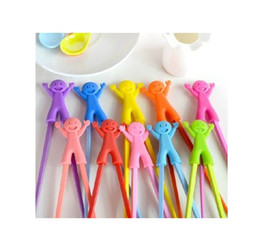 Wholesale Kid Chopsticks - Wholesale - Free shipping Christmas Colorful gift Happy Kids Connected Plastic Silcone Chopsticks 600pairs lot