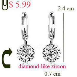 Wholesale trade chandeliers - Wholesale - simulated diamond drop earrings 0.7cm big 1silver white+1gold white AAAA zircon BA-195 gorgeous TOP brand Rihood Trading