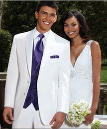 Wholesale Wedding Forms - Custom Made Groom Tuxedos Two Button Notch Lapel Best Man Groomsman Men Wedding Suits Prom Form Bridegroom (Jacket+Pants+Tie+Vest+Hanky)J87