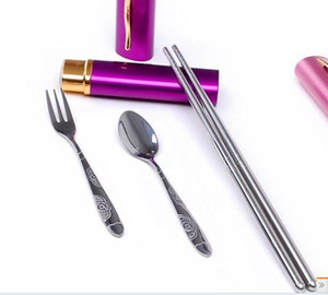 Wholesale sets Mini Tableware Chopsticks Spoon Fork set pen travel fork set dinner use portable dinnerware