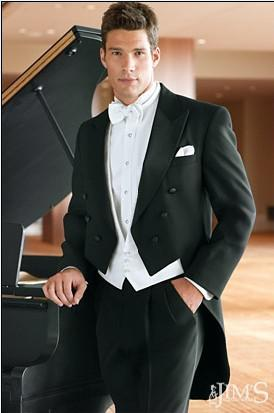 Tailcoat Bräutigam Smoking zweireihigen Spitze Revers Best Man Groomsman Männer Hochzeitsanzüge Prom / Form / Bräutigam Jacket + Pants + Tie + Vest + Hanky J94