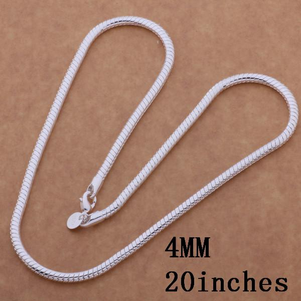 plated 925 sterling silver chain necklace fashion jewelry for men Top quality