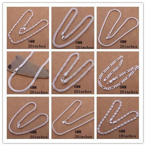 Mixed orders plated 925 sterling silver chain necklace fashion jewelry for men Top quality free shipping 9pcs/lot