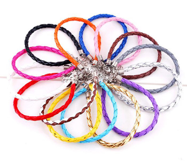 top popular Free Shipping 925 Silver Jewelry European Braided Leather Beads Bracelets Mixed Colors 120Pcs 2019