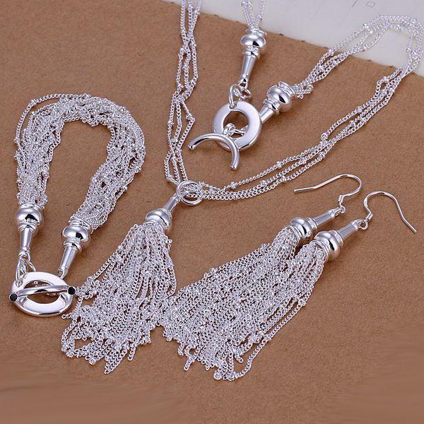 Al por mayor - precio más bajo Regalo de Navidad 925 Sterling Silver Fashion Necklace + Earrings set QS141
