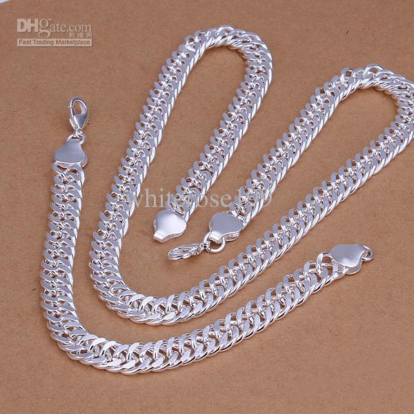 Al por mayor - precio más bajo regalo de Navidad 925 Sterling Silver Fashion 10mm Necklace + Earrings set QS142