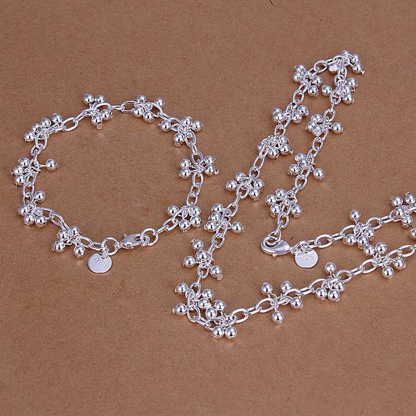 Großhandel - niedrigster Preis Weihnachtsgeschenk 925 Sterling Silber Fashion Halskette + Ohrringe Set QS146