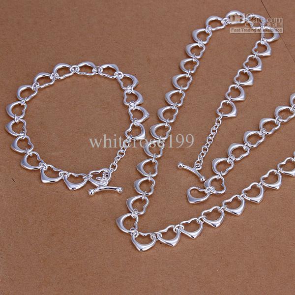 Großhandel - niedrigster Preis Weihnachtsgeschenk 925 Sterling Silber Fashion Halskette + Ohrringe Set QS147