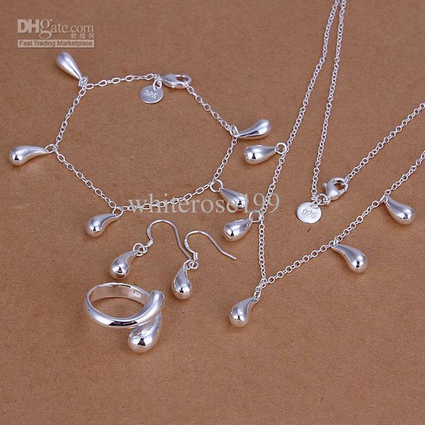Partihandel - lägsta pris julklapp 925 sterling silver mode halsband + örhängen set qs149
