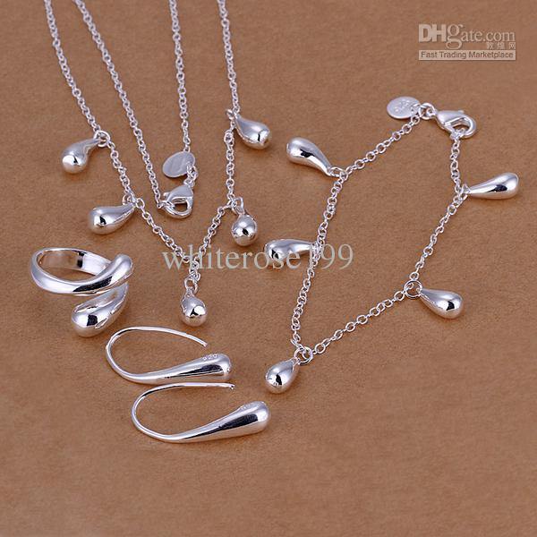 Großhandel - niedrigster Preis Weihnachtsgeschenk 925 Sterling Silber Fashion Halskette + Ohrringe Set QS150