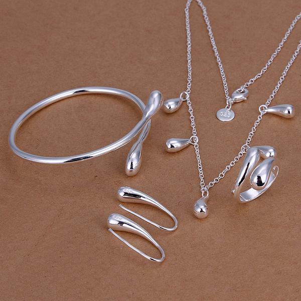 Partihandel - lägsta pris julklapp 925 sterling silver mode halsband + örhängen set qs151