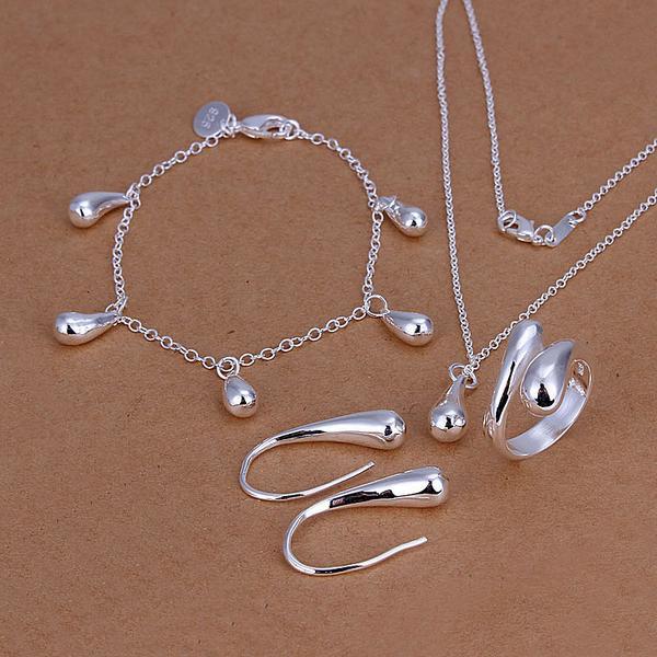 Partihandel - Lägsta pris Julklapp 925 Sterling Silver Fashion Halsband + Örhängen Set QS155
