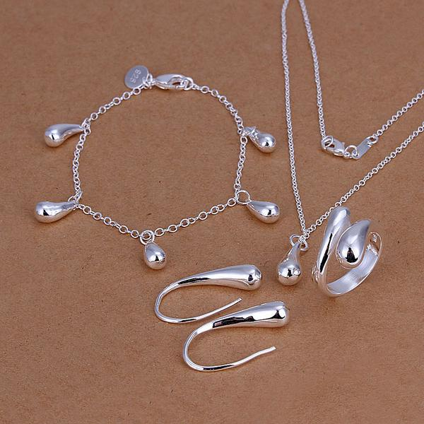 Wholesale - lowest price Christmas gift 925 Sterling Silver Fashion Necklace+Earrings set QS155