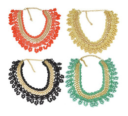 Wholesale lace choker necklace black beads - New Fashion Style 4pcs lot orange black cream green Gold Plated Link Chain Weave Lace Flower Beads Tassels Choker Necklace N-3080