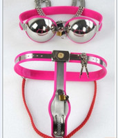 Pink Female Model- Y Stainless Steel Chastity Belt + Silica l...