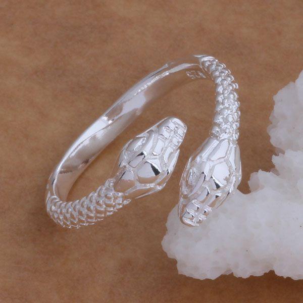 Lågpris Toppkvalitet 925 Silver Snake Ringar Fashion Unisex Smycken Gratis frakt 20st /