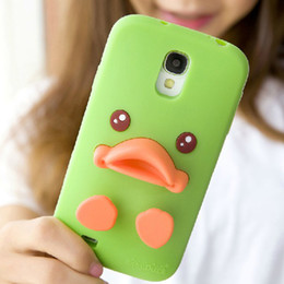 Wholesale Cartoon Galaxy S Cases - 3D Cute Cartoon Baby Duck Cute Style Soft Silicon gel Skin Shell Case with stand holder For Samsung Galaxy i9500 S4 S 4 Christmas Gift