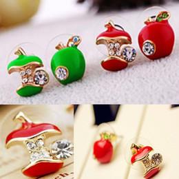 Wholesale Red Apple Earrings - 48pcs lot Fashion Green Red Apple Dissymmetr Stud Earrings Women's Lucky Cosplay Party Earrings Gift [CL0141*24]