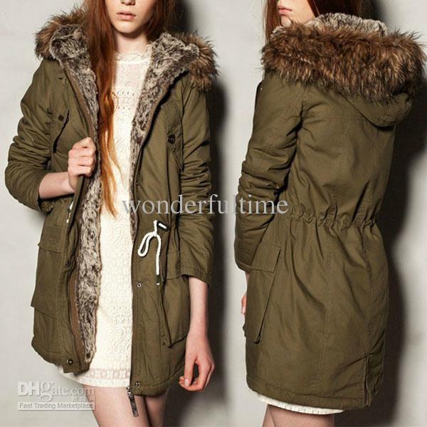 2018 New Women Warm Hooded Military Green Faux Fur Long Coat Parka ...
