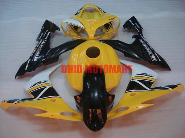 Kit de carenado de la tapa del tanque completo para YAMAHA YZFR1 04 05 06 YZF R1 2004 2005 2006 YZF1000 Amarillo negro Carenados conjunto + regalos YD12