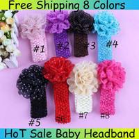 flores de crochet para faixas de bebê venda por atacado-Headbands do bebê Menina Dot Chiffon Flor hairbands Acessórios Para o Cabelo Enfeites de Cabelo Crianças Crochet Headbands Ordem Julgamento