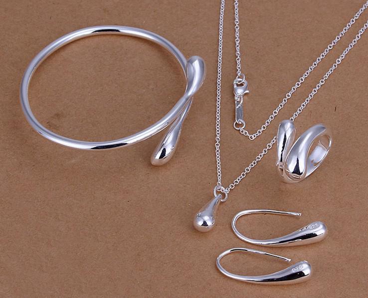 Commercio all'ingrosso - Brillante goccia 925 argento alta vendita moda fascino collana orecchini anelli bracciali Set gioielli S222