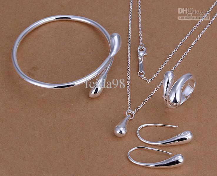 - Bright Drop 925 Silver High sales fashion charm Necklace earrings rings bracelets Set Jewelry S222