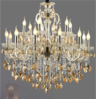 K9 crystal ceiling light European style cognac color pendent...