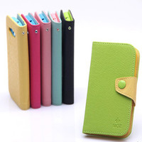 MOZ Style Candy Color Flip Wallet Leather TPU Inner With Credit Card Holder Case para Samsung Galaxy S3 I9300 S4 I9500 Iphone 4 4G 4S 5 5S