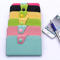 Hot MOZ Style Candy Flip Wallet en cuir TPU Inner With Credit Card Holder Case pour Samsung Galaxy S3 I9300 S4 I9500 Iphone 4 4G 4S 5 5S
