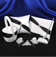 Wholesale Guest Book Black White - Wedding Full Set Black White Stripe Satin Crystal Ring Pillow Pillows + Flower Girl Basket+ Guest Book + PEN SET + Bridal Garter 5 pcs