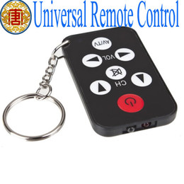 Wholesale Remote Control Chain - Wholesale - Advanced Mini Black Card Style Universal TV Remote Control with Key Chain Ring Gadget
