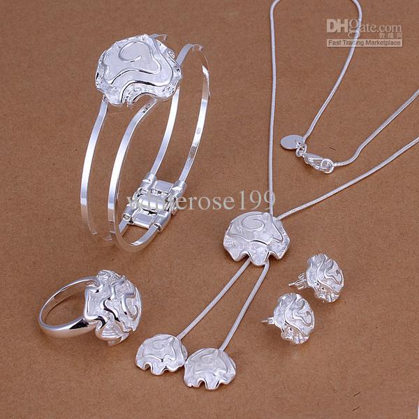 Al por mayor - precio más bajo regalo de Navidad 925 Sterling Silver Fashion Necklace + Earrings set QS168