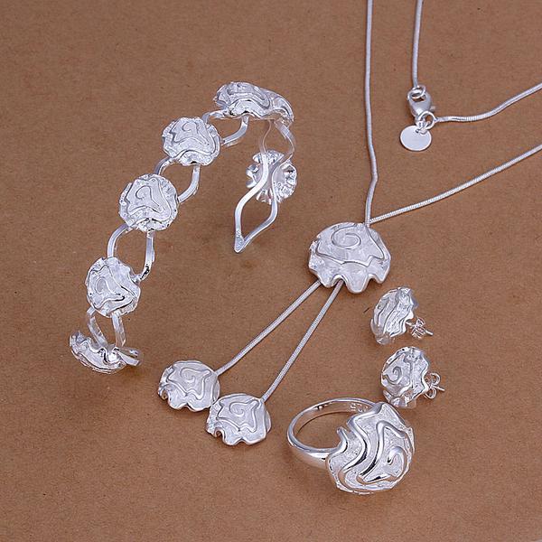 Großhandel - niedrigster Preis Weihnachtsgeschenk 925 Sterling Silber Fashion Halskette + Ohrringe Set QS169