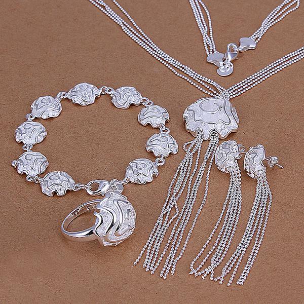 Partihandel - Lägsta pris Julklapp 925 Sterling Silver Fashion Halsband + Örhängen Set QS170