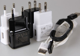 Wholesale Usb Wall S3 - 100pcs US EU Plug Wall Charger Adapter For Samsung Galaxy S3 S4 S2 Note 2 N7100 + 100pcs Micro USB data cable
