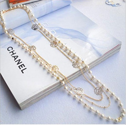 Wholesale Strand Link - 2136 On sale cross multilayer beaded pearl rose flower Layers long sweater chain necklaces strands strings Christmas gift frees shipping