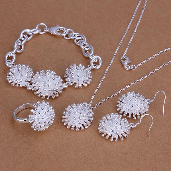 Großhandel - niedrigster Preis Weihnachtsgeschenk 925 Sterling Silber Fashion Halskette + Ohrringe Set S250