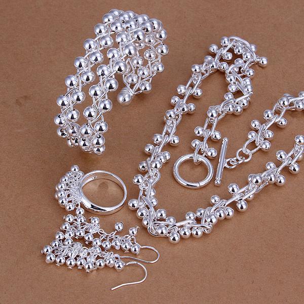 Partihandel - lägsta pris julklapp 925 sterling silver mode halsband + örhängen set qs174