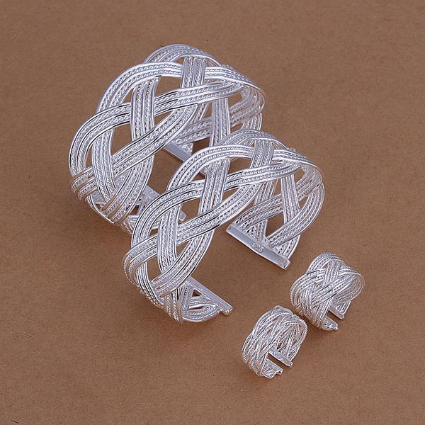 Großhandel - niedrigster Preis Weihnachtsgeschenk 925 Sterling Silber Fashion Halskette + Ohrringe Set QS177