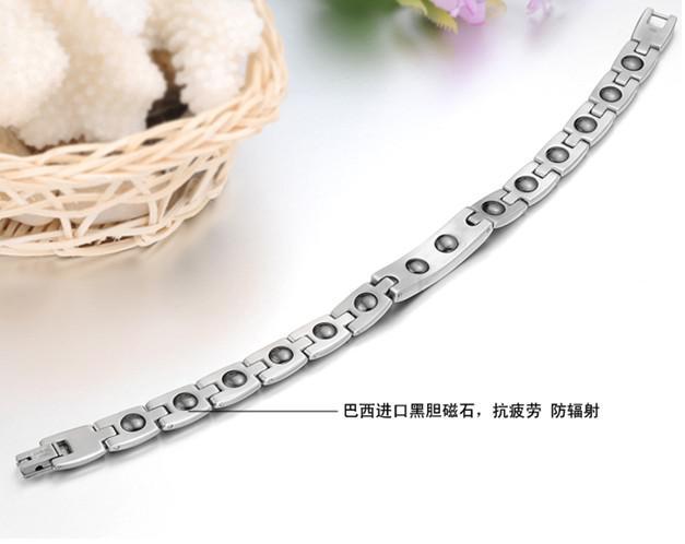 Högsta kvalitet älskare armband energi magnetvård titan stål smycken silver