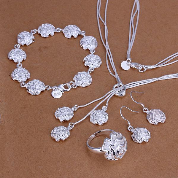 Partihandel - lägsta pris julklapp 925 sterling silver mode halsband + örhängen set qs182