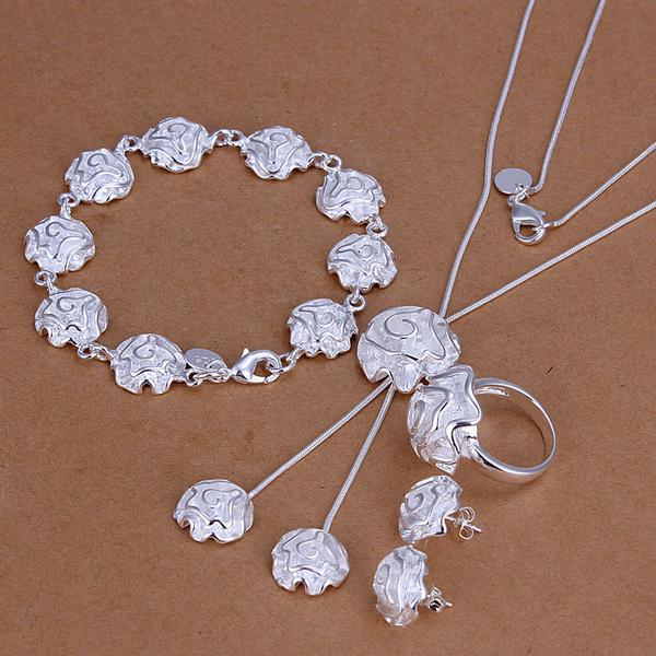 Partihandel - Lägsta pris Julklapp 925 Sterling Silver Fashion Halsband + Örhängen Set QS186