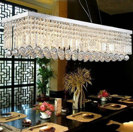 Discount Rectangle Dining Room Modern Chandeliers K9 Crystal Pendant Lamp Fashion Art Deco Chandelier