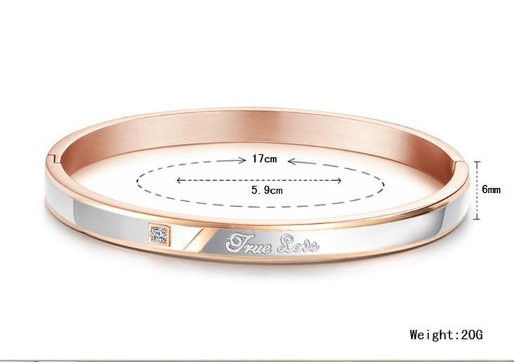 För älskare gåvor smycken hög kvalitet charm par w / cz rostfritt stål komfort bröllopspromise manschett Bangle armband