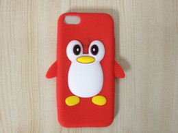 Wholesale Gel Case For Iphone5c - Penguin case for iphone 5c 3D penguin cute soft silicone gel rubber case for iphone 5C iphone5c animal cartoon case