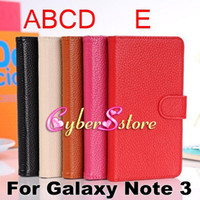 Wholesale Top Grade Real Genuine Litchi Wallet leather Case Cover With Credit Card Slot Slots Pouch For Samsung Galaxy Note N9000 III Note