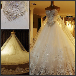 Wholesale Luxury Bridal Dresses Photos - Custom Luxury Wedding Dress Real Photo 2015 Amazing Bling Crystal Dresses Sexy Sweetheart Stunning Lace Applique Cathedral Train Bridal Gown
